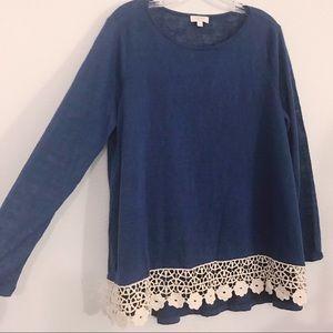 Umgee crochet detail long sleeve top large